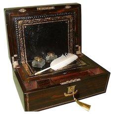 Inlaid Coromandel Writing Box. Secret Drawers. c1870