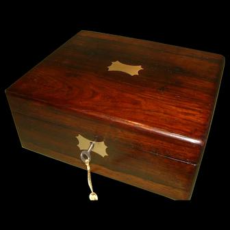 Inlaid Rosewood Jewellery – Table Box. C1850