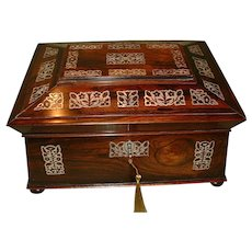 L. Leuchars of Piccadilly Large Inlaid Rosewood Jewelry Box. C1840