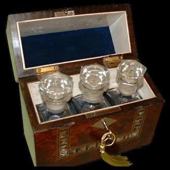 Beautiful Inlaid Amboyna Perfume Bottle Casket. Original 3 Bottles. C1875.