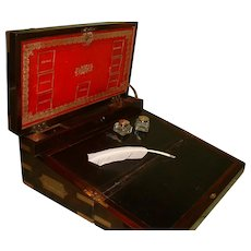 Campaign Style Brass Bound Triple Fold Writing Box. Many Features. C1830
