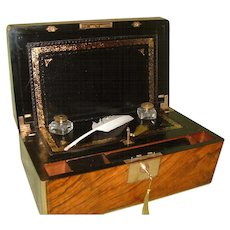 Brass Bound Walnut Writing Box. Secret Drawers. c1875