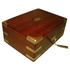 Solid Mahogany  Brass Bound Jewellery Box + Tray. c1835