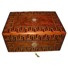 Tunbridge Ware Style Figured Walnut Jewelry Box + Tray. c1880