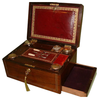 Inlaid Fitted Rosewood Vanity – Jewelry Box. C1850
