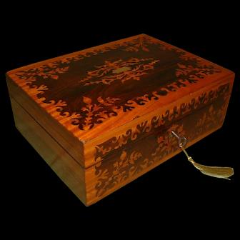 Highly Ornate Rosewood & Satinwood  Humidor – Jewelry Box. C1860