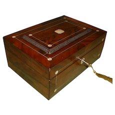 Inlaid Rosewood Jewelry Box + Tray. c1850