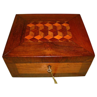Perspective Cubes Inlaid Jewelry Box + Tray. c1835