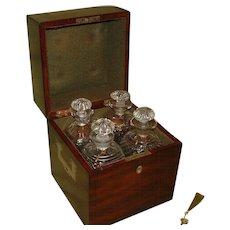 Georgian Mahogany Decanter Box + Decanters. c1825