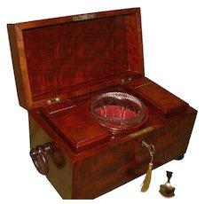 Quality Flame Mahogany Tea Caddy + Antique Bowl.c1835