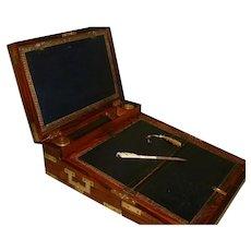 RARE Regency Kingwood Brass Bound Triple Fold Writing Box. Many Features. C1830
