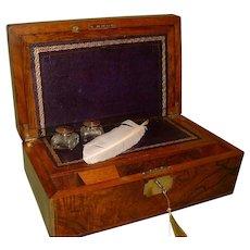 Brass Bound & Inlaid Writing Box Virtually 100% Original. C1872