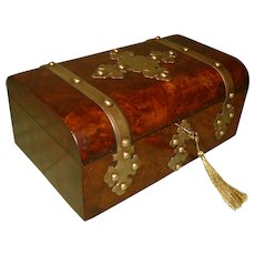 Quality Burr Walnut Dome Top Jewelry Box. C1880