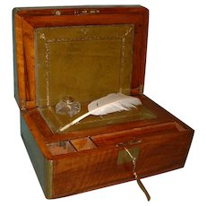 Brass Bound & Inlaid Walnut Writing Box. c1870