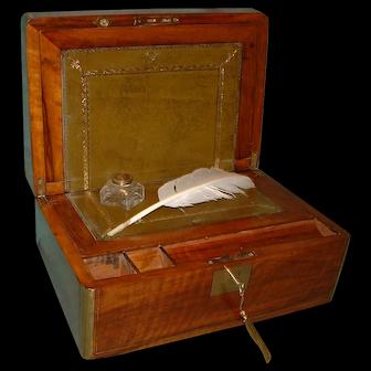 Brass Bound & Inlaid Walnut Writing Box. c1870
