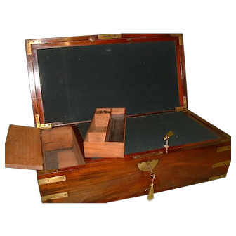 Scarce Solid Mahogany Georgian Writing Box. C1810