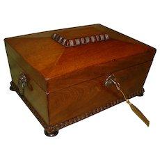 Mahogany Jewelry - Table Box. Side Handles. C1870