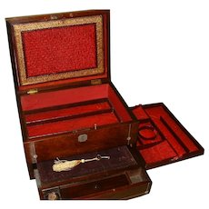Inlaid Rosewood Combination Jewelry - Writing Box. c1840