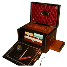 Unusual Combination Drop Fronted Walnut Writing – Stationery – Jewelry Box. C1875