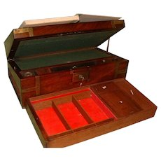 Georgian Mahogany Writing Box. Side + Secret Drawers + Lectern Facility. C1810