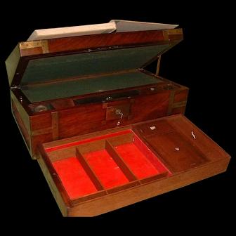 Georgian Mahogany Writing Box. Side + Secret Drawers + Lectern Facility. C1810