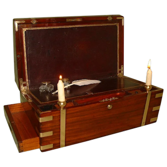 QUALITY Writing Box. Side + Secret Drawers + Candle Sconces + More. C1850