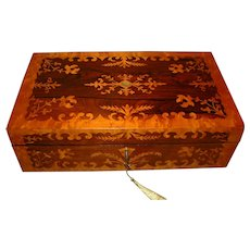 Ornate Rosewood & Maple Writing Box. C1845