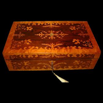 Ornate Rosewood & Maple Writing Box. C1845
