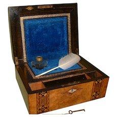 Burr Walnut + Tunbridge Ware Style Inlaid Writing Box. C1880