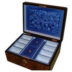 Burr Walnut Tunbridge Ware Style Inlaid Jewelry Box. C1880
