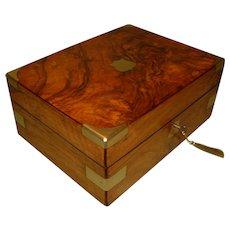 Unisex Brass Bound Walnut Jewelry Box. C1870.