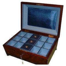 Flame mahogany Jewelry Box + Tray. c1875