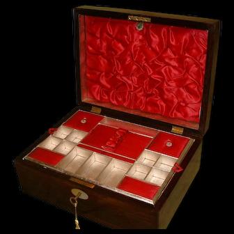 Inlaid Rosewood Jewellery- Sewing Box. 100% Original. C1880