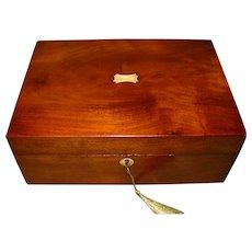 Inlaid Flame Mahogany Jewelry Box + Tray. c1870