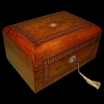 Inlaid Walnut Jewellery – Work Box + Tray. c1880