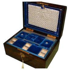 High Quality Coromandel Jewelry Box. Plush Interior. C1875.