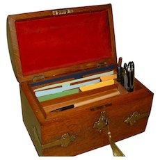 Figured Oak Dome Top Stationery Box. C1890