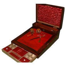 Rosewood Combination Jewelry/Work/Writing Box. C1880