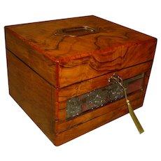 Figured Walnut Jewelry + Perfume Bottle Box. C1885