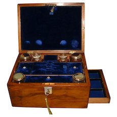 Inlaid Walnut Vanity – Dressing – Jewelry Box c1875