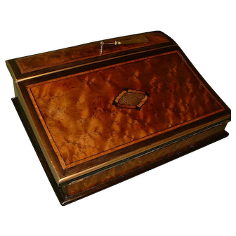 French 'Tahan' Marked Inlaid & Edge Bound Writing Box. C1872