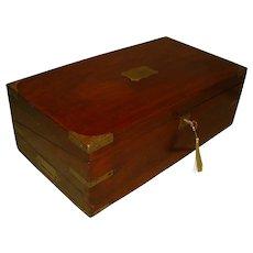 Mahogany Writing Box. Side + Secret Drawers. Original Velvet. C1835.