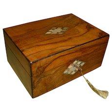 Inlaid Figured Walnut Jewelry – Table Box. C1870
