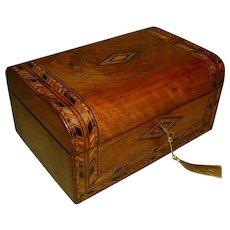 Inlaid Walnut Jewelry Box + Tray c1880
