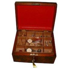 Unisex Burr Walnut Jewelry Box + Tray. c1875