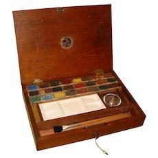 Reeves Artists Watercolour Paint Box + Paints & Accessories. C1900.