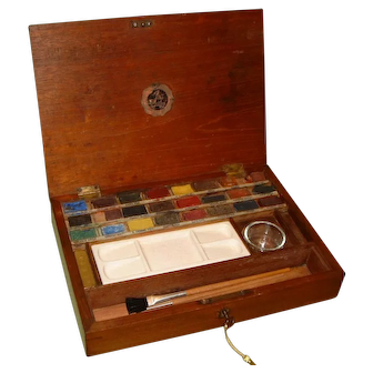 Reeves Artists Watercolour Paint Box + Paints & Accessories. C1900.