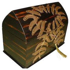 Rare Coromandel Arch Top – Fern Decorated Box. c1880