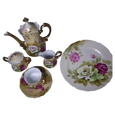 LEFTON CHINA Pink and White Rose Hand Painted Set