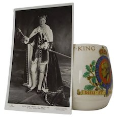 Original 1937 Commemorative Cup King Edward VIII & Photo Post Card